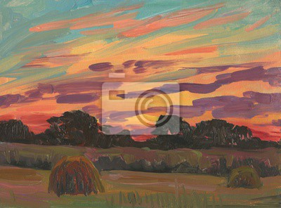 Canvas print Haystacks in the field. Evening landscape. Oil painting