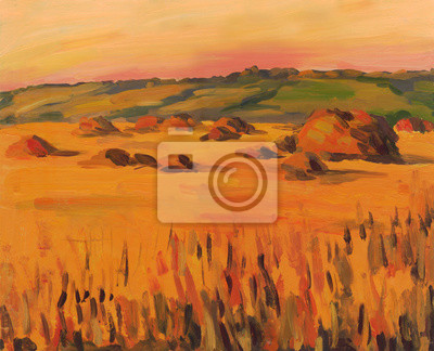 Canvas print Haystacks in the field. Landscape. Oil painting