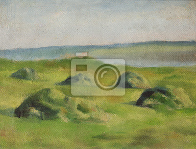 Haystacks on the meadow. Country landscape. Oil painting