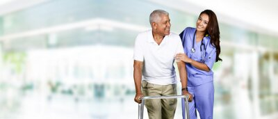 Canvas print  Health Care Worker and Elderly Man