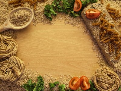 Canvas print Health Food background, rice, pasta, salad and vegetables.