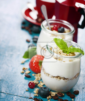 Canvas print Healthy breakfast - yogurt with muesli and berries - health and