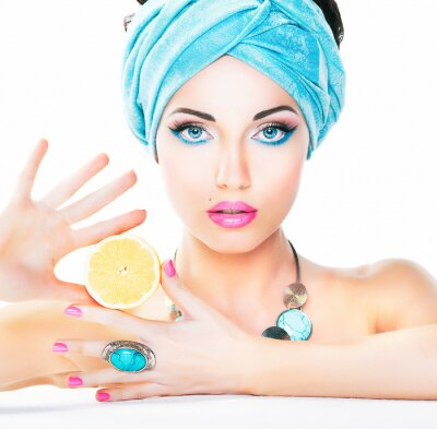 Canvas print Healthy eating, health care. Nutrition. Beauty woman,  lemon