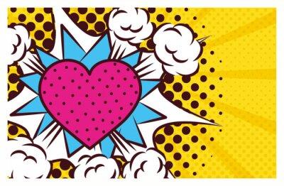 Canvas print heart love pop art style