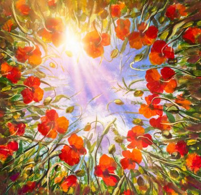 Heart of red poppies poppy field flowers on background of blue sky in sunshine. View from bottom up. Flower landscape Oil painting for wedding, invitations, poster, textile.