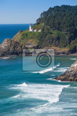 Heceta Lighthouse with sea