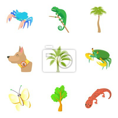 Canvas print Herbivore icons set. Cartoon set of 9 herbivore vector icons for web isolated on white background