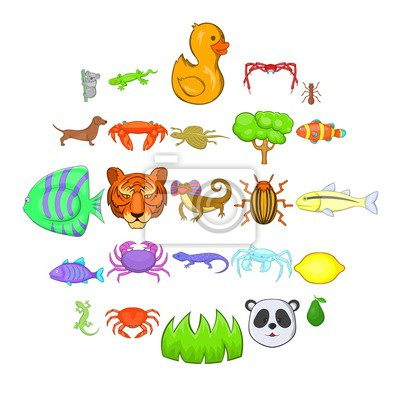 Canvas print Herbivores icons set. Cartoon set of 25 herbivores vector icons for web isolated on white background