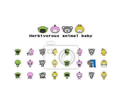 Canvas print Herbivorous animals baby / Twenty four kinds of action and expression, and a baby wears on sheep, rabbit, koala and giraffe dress.