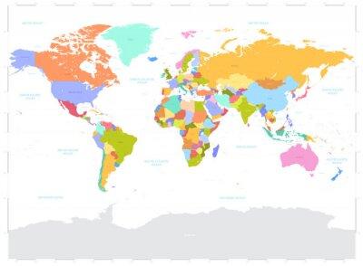 Canvas print Hi Detail colored Vector Political World Map illustration