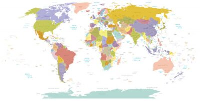 Canvas print High Detail World map.Layers used.