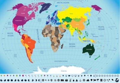 Canvas print high detailed world map