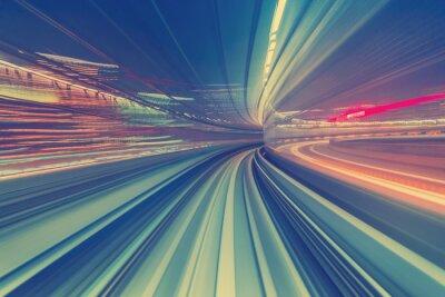 Canvas print High speed technology concept via a Tokyo monorail