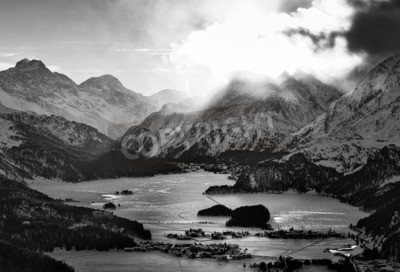 Canvas print High view of the valley with the Engadine Sils Maria hate villages  where he lived the philosopher Nietzsche
