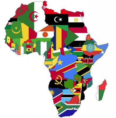 Canvas print Highly Detailed Africa Map With Country Flags.