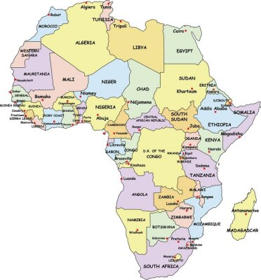 Canvas print Highly Detailed Africa Political Map.