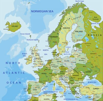 Canvas print Highly detailed editable political map. Europe.
