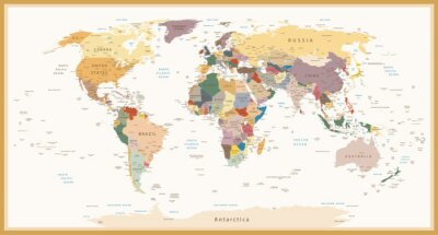 Canvas print Highly Detailed Political World Map Vintage Colors
