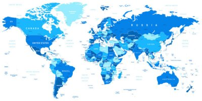 Canvas print Highly detailed vector illustration of world map.Borders, countries and cities.