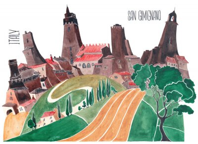 Canvas print Hills of Tuscany. Stylized nature and architecture of Italy. An illustration of a watercolor.