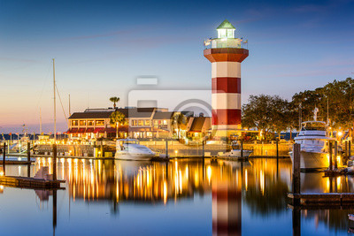 Canvas print Hilton Head, South Carolina, USA Lighthouse at Twilight