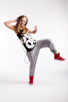 Canvas print Hip-Hop Tänzerin mit Kopfhörern