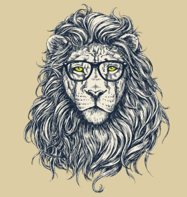 Canvas print Hipster lion vector illustration. Glasses separated.