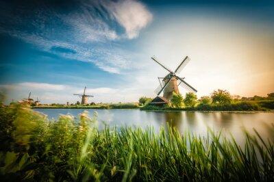 Canvas print Historians Dutch windmills near Rotterdam