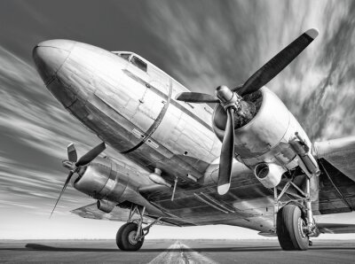 Canvas print historic airplane on a runway