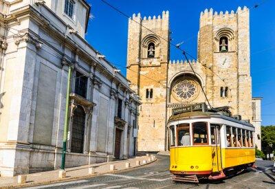 Canvas print Historic yellow tram of Lisbon, Portugal