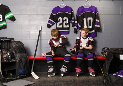 Canvas print Hockey Arena Boys in Rink Dressing Room