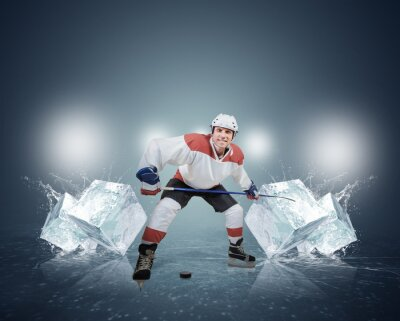 Canvas print Hockey player with ice cubes
