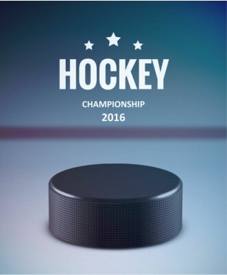 Canvas print Hockey puck isolated on ice with blur