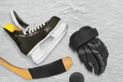 Canvas print Hockey skates, stick, gloves and puck