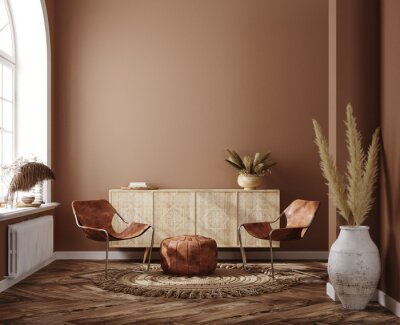 Canvas print Home interior with ethnic boho decoration, living room in brown warm color, 3d render