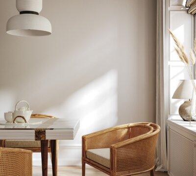 Canvas print Home mock up, cozy modern kitchen interior background, 3d render