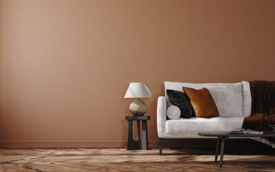 Canvas print Home mockup, brown warm color living room with  sofa and decoration, 3d render