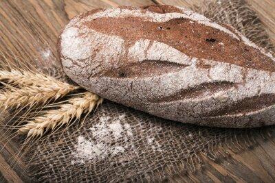 Canvas print Homemade bread, close-up
