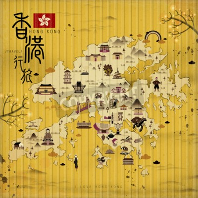 Canvas print Hong Kong travel map with attractions in retro style - the upper left title is Hong Kong travel in Chinese word