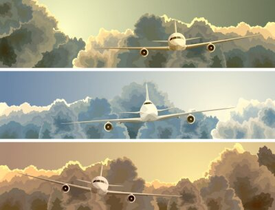 Canvas print Horizontal banner of plane among clouds.