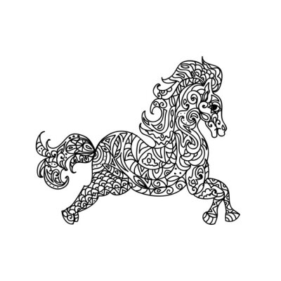 Canvas print Horse zentangle