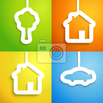 House, car and tree applique background set.
