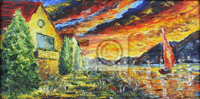 house near the river at sunset, oil painting