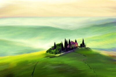 Canvas print House on a beautiful hill drawing.