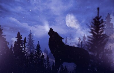 Canvas print Howling Wolf in Wilderness