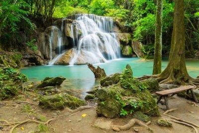 Canvas print Huai Mae Khamin waterfall in Kanchanaburi province, Thailand.