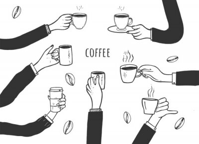 Canvas print Human hands with cups of coffee set