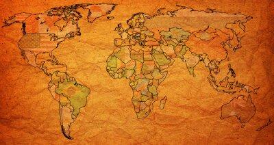 Canvas print hungary territory on world map