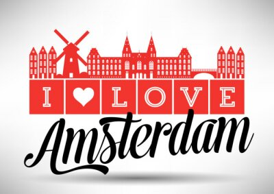 Canvas print I Love Amsterdam Skyline Design