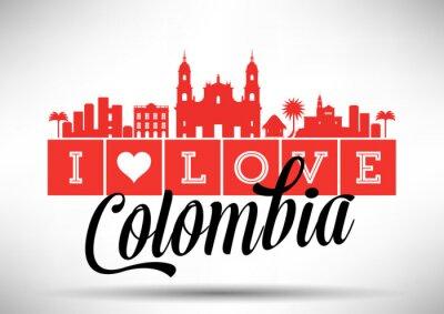 Canvas print I Love Colombia Skyline Design